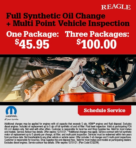 Full Synthetic Oil Change + Multi Point Vehicle Inspection