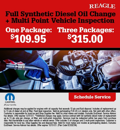 Full Synthetic Diesel Oil Change + Multi Point Vehicle Inspection