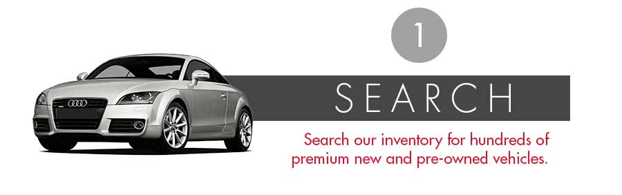 1. Search our inventory for hundred of premium new and pre-owend vehicles. Image click leads to all inventory page with a search filter to browse by make, models, trim, exterior color and more