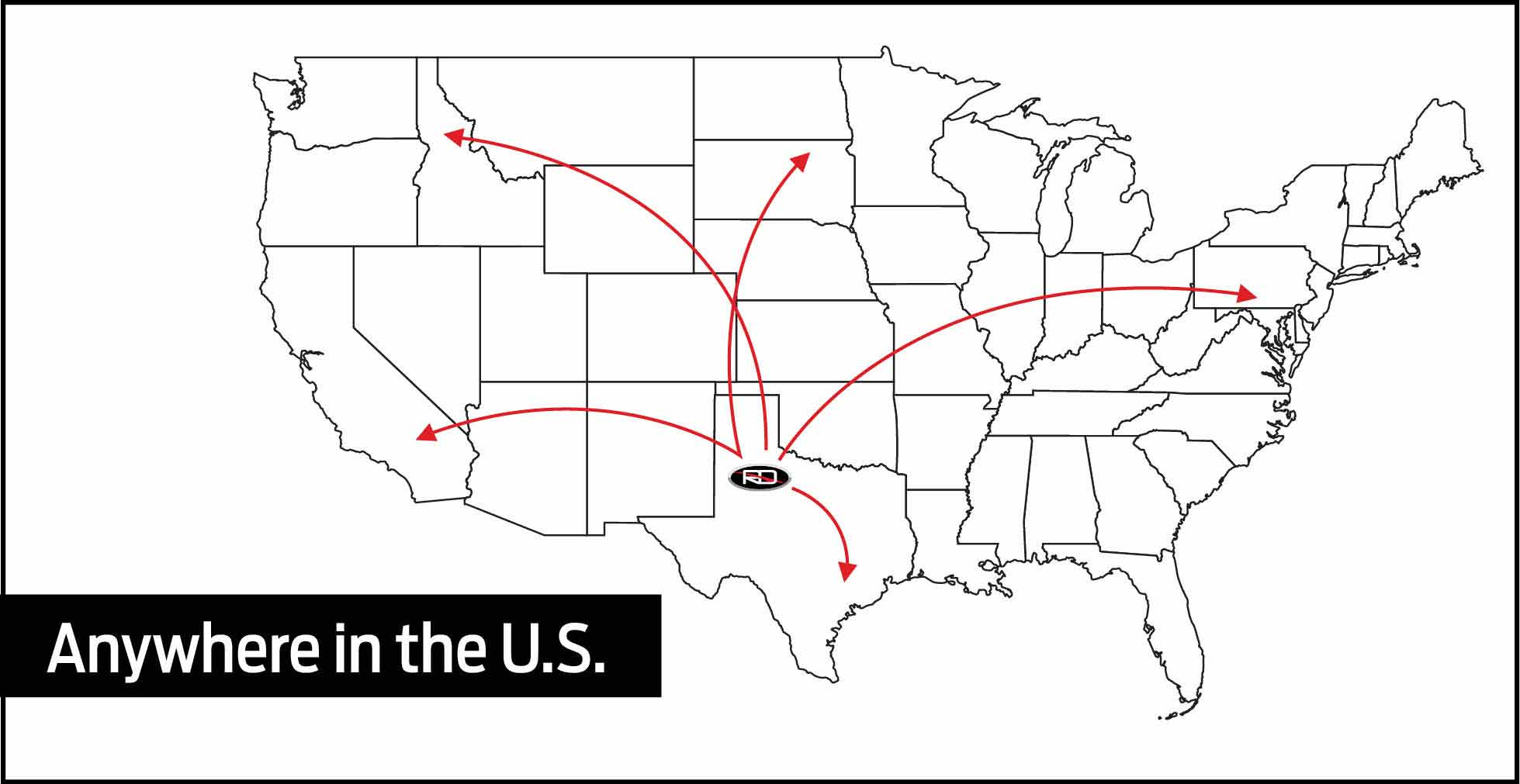 We provide Doorstep Delivery Dallas and Any where in the US. The image includes a US map marking all the area Reagor Dykes Auto Group delivers vehicles to