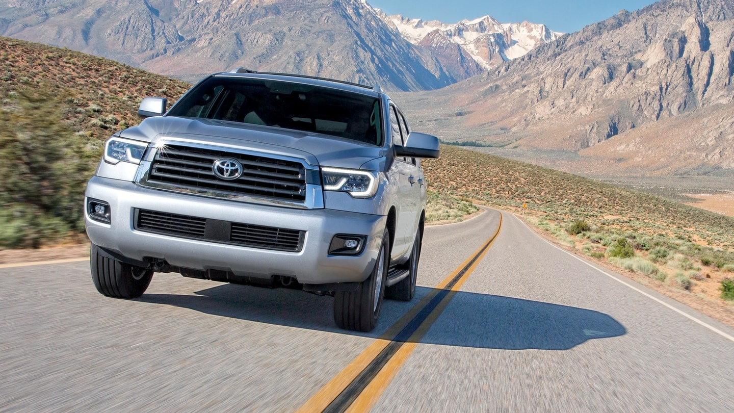 2018 Toyota Sequoia driving through mountains