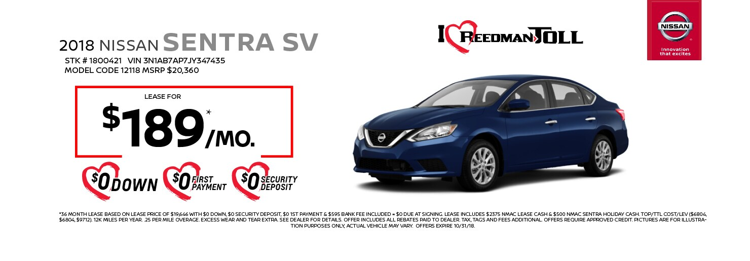 2018 Nissan Sentra SV Lease Special