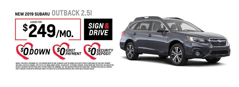 2019 Subaru Outback 2.5i Lease Special