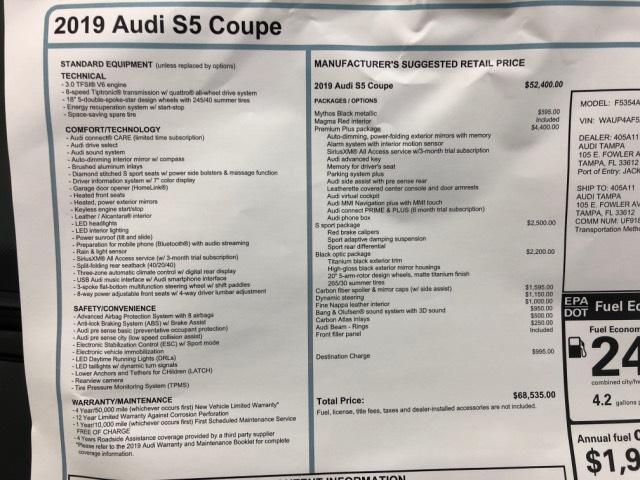 New 2019 Audi S5 For Sale at Audi Tampa | VIN: WAUP4AF5XKA020410
