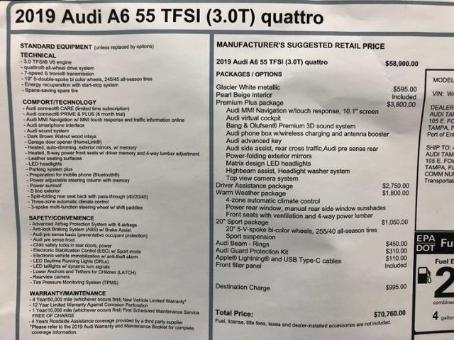 New 2019 Audi A6 For Sale at Audi Tampa | VIN: WAUL2AF25KN077617