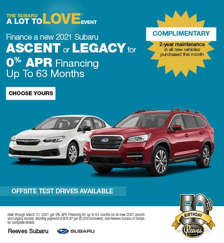 Finance a new 2021 Subaru Ascent or Legacy for