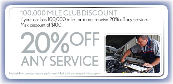 Auto Coupon Special 100000 Mile Club Service