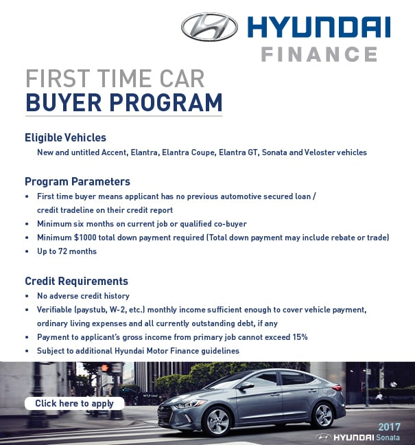 Hyundai motor finance first time buyer program springfield for Hyundai motor vehicle finance