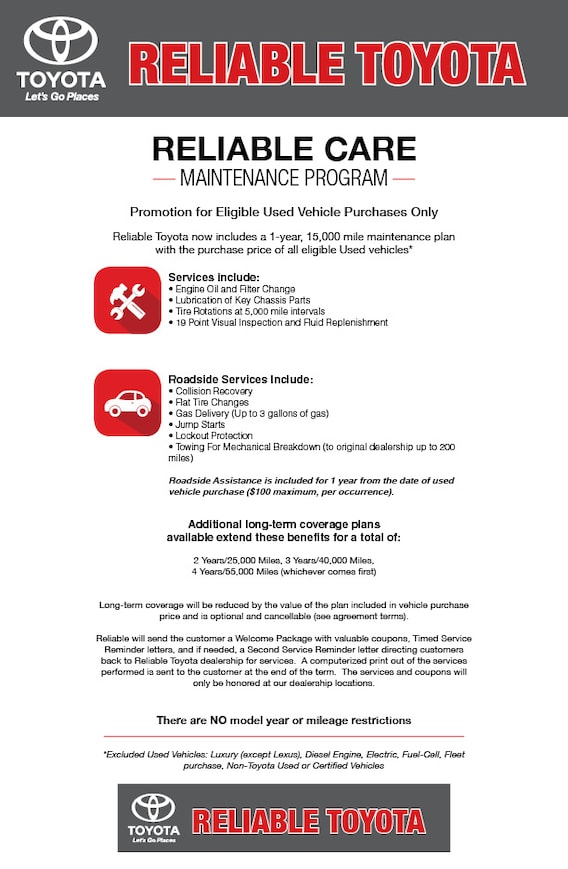Reliable Toyota Springfield Mo >> Reliable Care Maintenance Program Springfield Near Ozark Mo