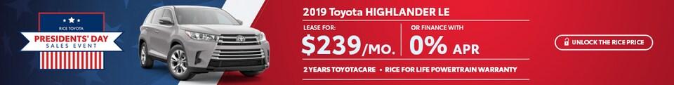 Toyota Highlander Presidents Day Sale Special Offer