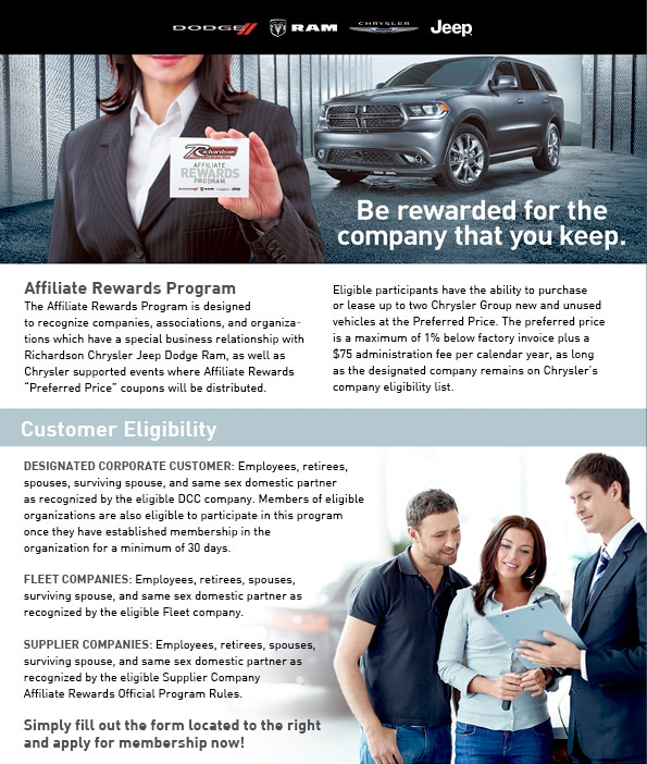 Affiliate Rewards Preferred Pricing Chrysler Reward Pricing - Chrysler affiliates list