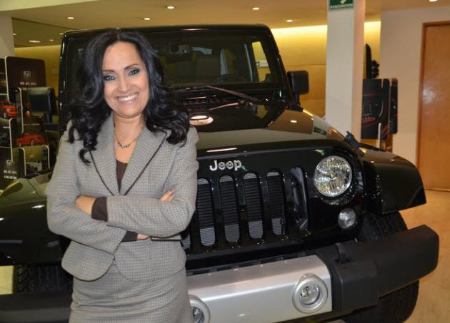 Mercedes Figueroa Mondragon standing with Jeep
