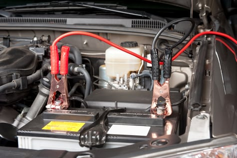 Car battery being charged