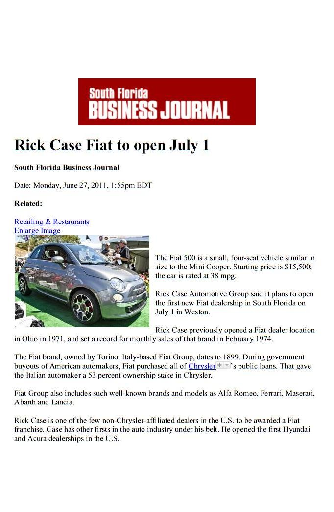Rick Case FIAT In The News - Fiat dealers in florida