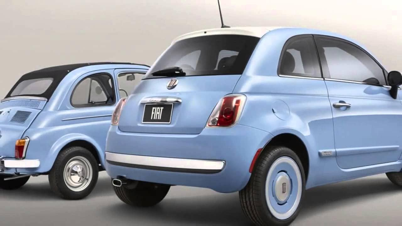 2014 fiat 500 - 1957 edition light blue rear view comparison