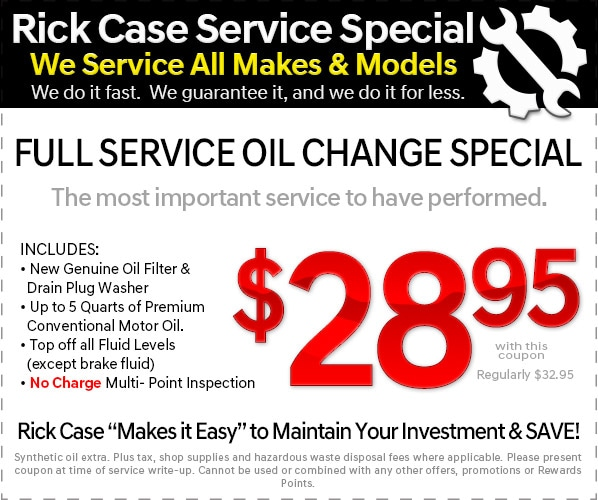 Oil Change Special >> Service Specials Rick Case Kia