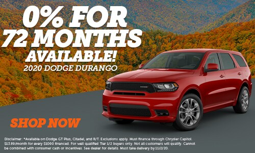 0% Financing for 72 Months on New 2020 Dodge Durango