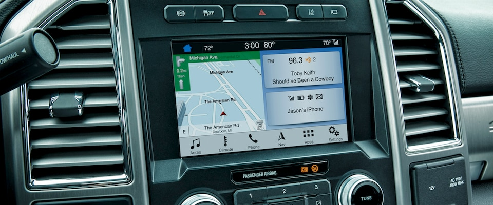 The infotainment system in the 2019 Ford Super Duty