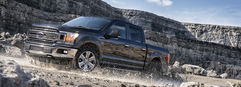 2019 Ford F-150 driving through mud