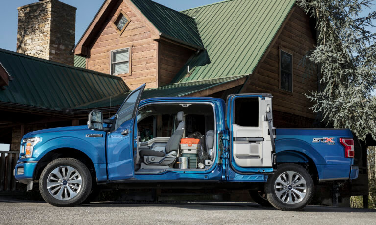 2020 Ford F-150 exterior doors open to reveal interior cab