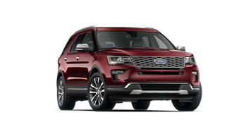 A red 2018 Ford Explorer on a transparent background