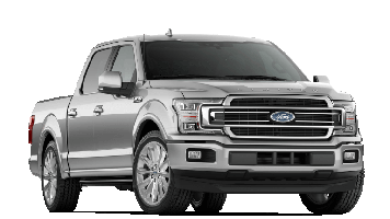 A silver 2019 Ford F-150 on a transparent background