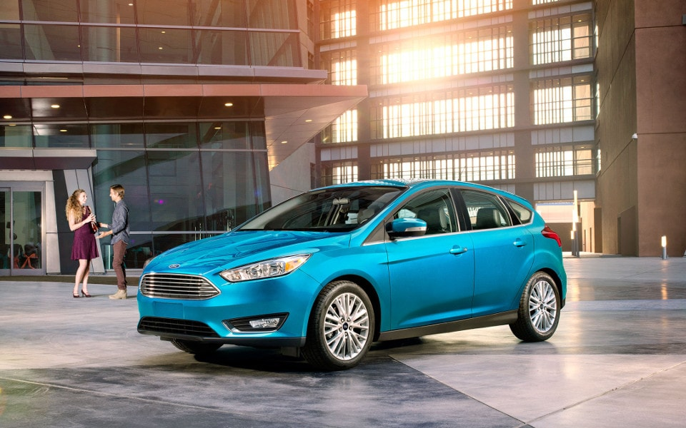 Blue 2017 Ford Focus in dealership