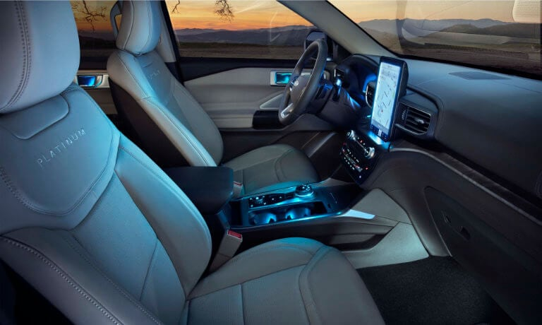 2020 Ford Explorer interior front at night