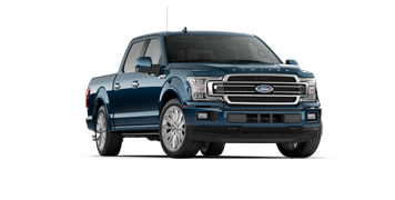 A blue 2018 Ford F-150 on a transparent background