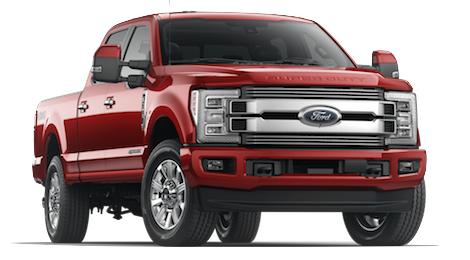 A red 2019 Ford F-350 on a transparent background