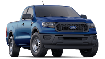 A blue 2019 Ford Ranger on a transparent background
