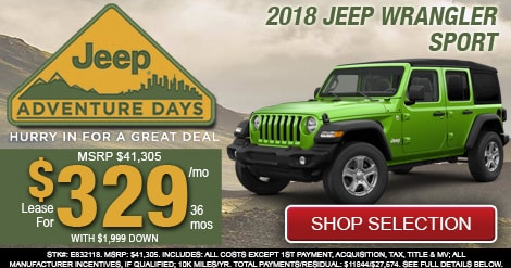 2018 Jeep Wrangler Sport Lease Special