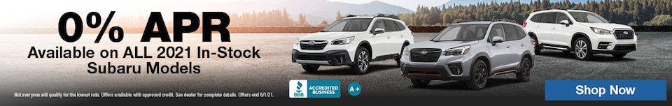 0% APR available on ALL 2021 In-Stock Subaru Models
