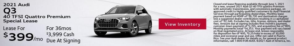 2021 Audi Q3 40 TFSI Quattro Premium Special Lease May