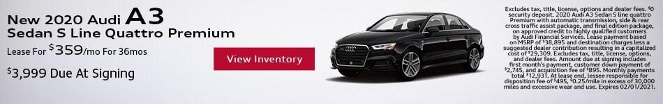 New 2020 Audi A3 Sedan S Line Quattro Premium