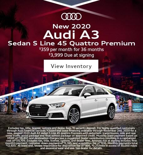 New 2020 Audi A3 Sedan S Line 45 Quattro Premium