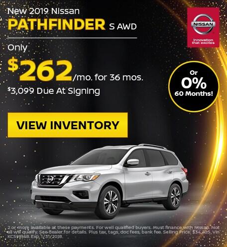 New 2019 Nissan Pathfinder S AWD