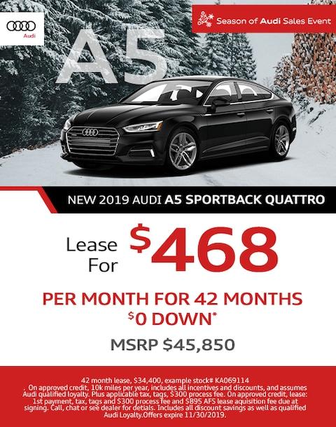 2019 Audi A5 Sportback Quattro Lease Special