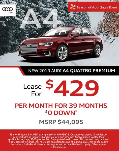 2019 Audi A4 Quattro Premium Lease Special