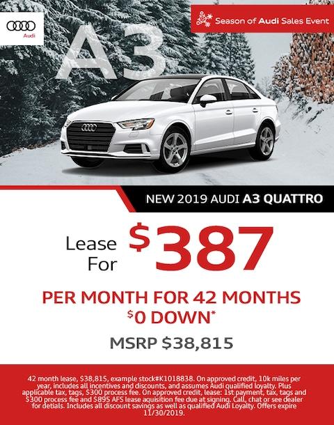 2019 Audi A3 Quattro Lease Special