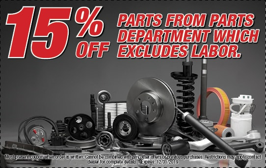 15% off parts from parts department