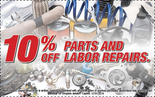 10% off parts and labor repairs