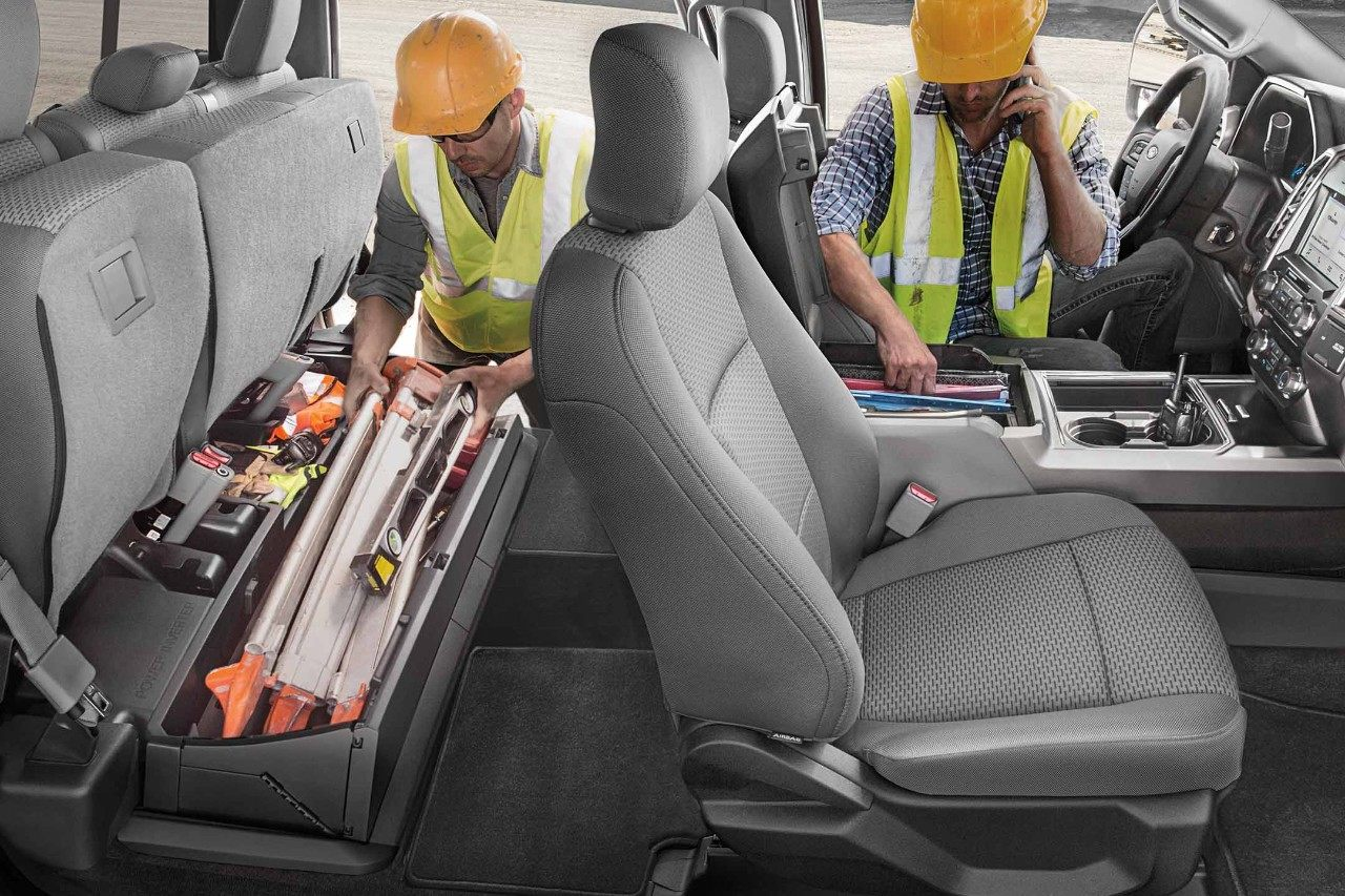 New Ford Super Duty Truck with a Folding Lockable Under-Seat Storage Box for Tools and Equipment