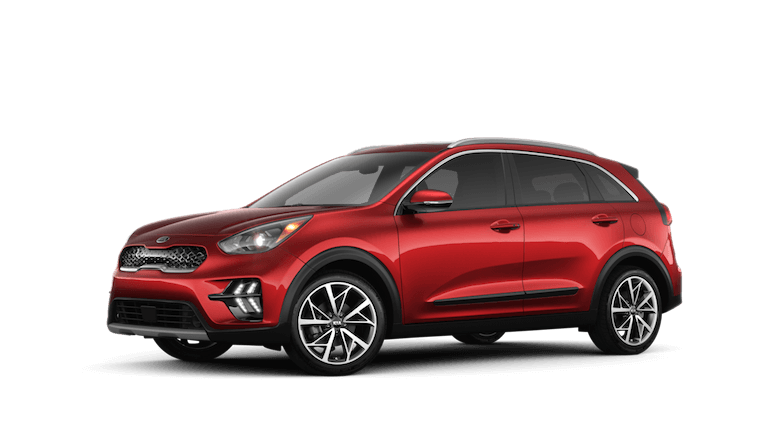 A red 2020 Kia Niro