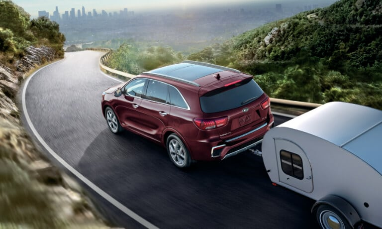 2020 Kia Sorento towing on the highway