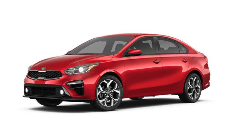 A red 2019 Kia Forte LXS