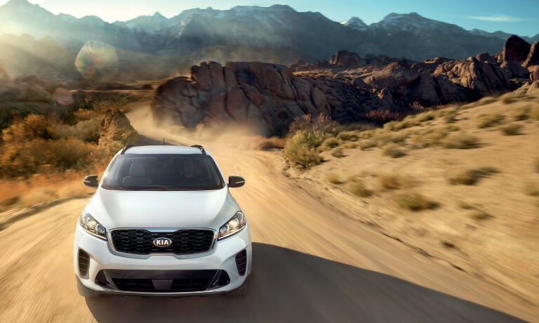 Silver 2020 Kia Sorento Driving In the Desert