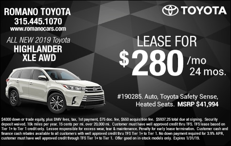 New 2019 Toyota Highlander XLE Leases