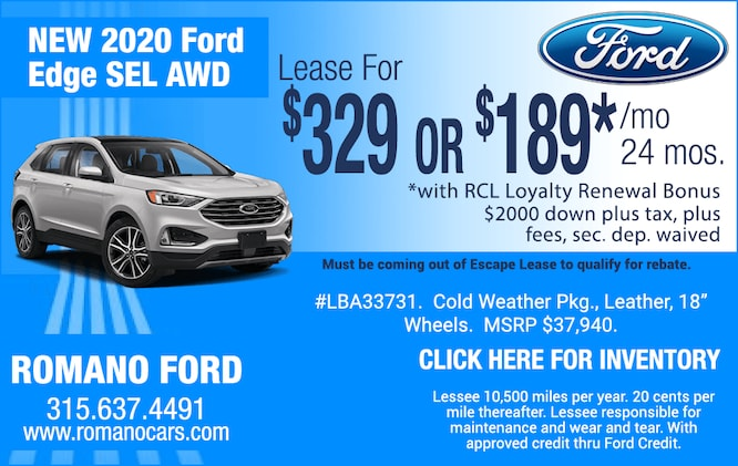 New 2020 Ford Edge SEL AWD Leases