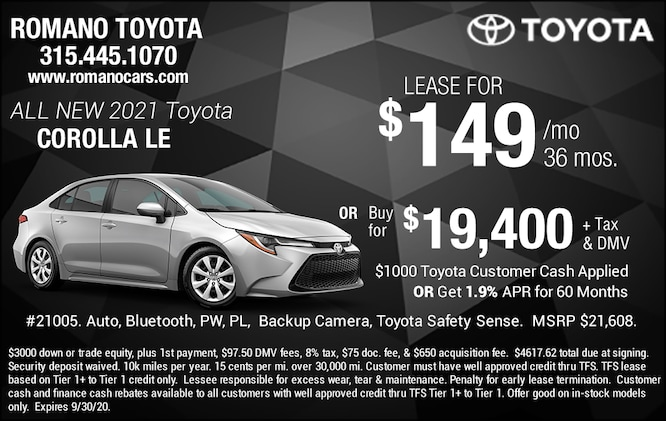 New 2021 Toyota Corolla LE Special Offers